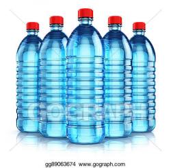 Stock Illustration - Group of blue plastic drink water bottles ...