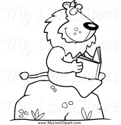 Clipart of a Black and White Lion Reading on a Boulder by Cory ...