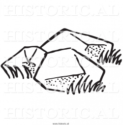 Illustration of Three Big Boulders - Black and White by Picsburg - #9452