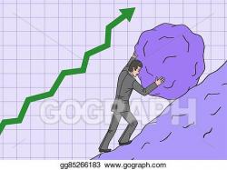 Vector Art - Businessman rolls the boulder up in hill. Clipart ...