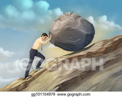 Drawing - Businessman pushing a boulder. Clipart Drawing gg101154979 ...