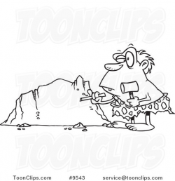 Cartoon Black and White Line Drawing of a Caveman Chiseling a ...
