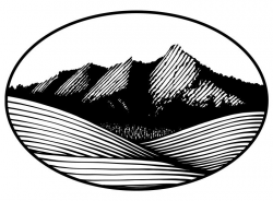 Pen and ink drawing of the Flatirons in Boulder -- Not so logo-y ...