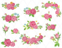 Digital Flower Clipart Pink Flower Clip Art Pink Flower