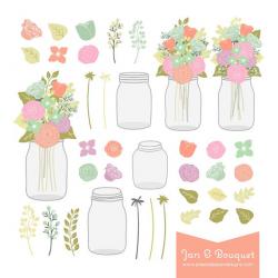 Mason Jar & Flower Bouquet Digital Clipart. Graphics For Wedding ...