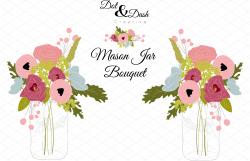 Peony Bouquet in Mason Jar - Vector ~ Graphics ~ Creative Market