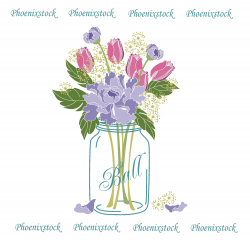Wedding clip art/ Mason Jar Bouquet / Digital Clip Art/Flower