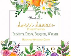 Paprika watercolor clipart bouquet elements flowers roses