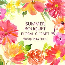 Summer Flowers Clipart, Floral Clipart, Handpainted Watercolour ...