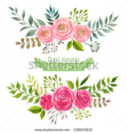 Vector flowers set. Colorful floral collection with leaves and ...