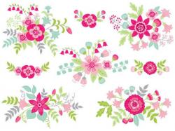 Floral Bouquet Clipart - Digital Vector Flowers, Bouquet, Bunch ...