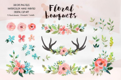 Floral bouquets - Watercolor clipart ~ Illustrations ~ Creative Market