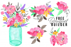 FREE Watercolor Bouquet Builder Set by TheHungryJPEG | TheHungryJPEG.com