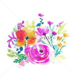 Watercolor Flower Bouquet on White. Painted Flower Bouquet Download ...
