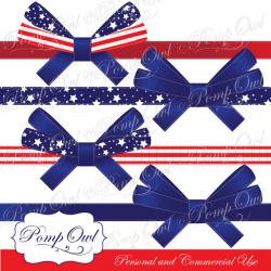 4th of July Patriotic Ribbons Independence Day digital clip art Red ...