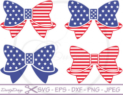 SVG 4th of July Bows, dxf files 4th of July Bows, eps files, SVG ...