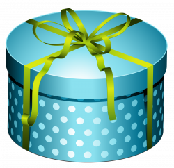 Blue Round Present Box with Bow PNG Clipart | Gallery Yopriceville ...