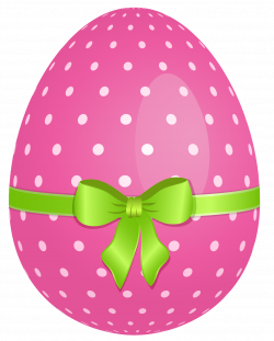 Pink Dotted Easter Egg with Green Bow PNG Clipart | Gallery ...