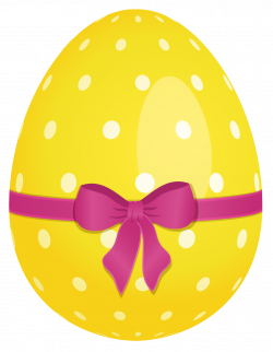 Yellow Dotted Easter Egg with Pink Bow PNG Clipart | Gallery ...
