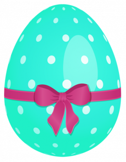 Sky Blue Easter Egg with Green Bow PNG Clipart | WIELKANOC ...