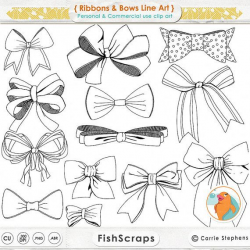 Ribbons & Bows Line Art, Tied Bow ClipArt, Hand Drawn Digital Clip ...