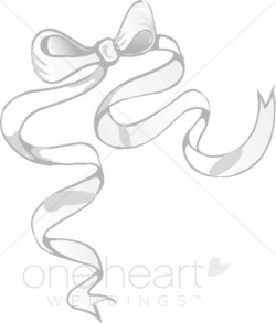 Silver Ribbon Bow Clipart | Wedding Bow Clipart