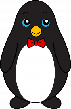 Cute Black Penguin With Red Bow Tie - Free Clip Art | Penguin Party ...