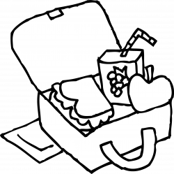 School Lunchbox Coloring Page - Free Clip Art