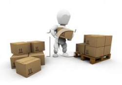 Royalty Free Clipart Image: A 3D Man Stacking Boxes on a Pallet