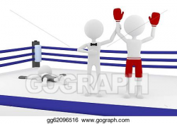 Clipart - 3d boxer person winning a match in a boxing ring with a ...