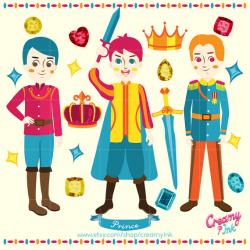 Prince Digital Vector Clip art / Fairytale Boys Clipart Design ...