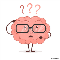 Brain cartoon with questions and glasses, human intellect thinks ...