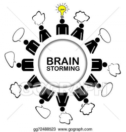 Stock Illustration - Brainstorming concept with teamwork discussing ...