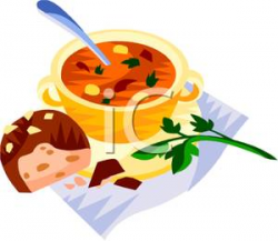 Clipart Image: A Hunk of Bread and a Bowl of Soup