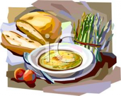 A Bread Roll with a Bowl of Soup - Clipart