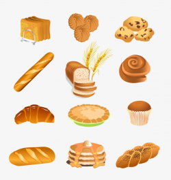 Hand-painted All Kinds Of Bread, Hand Painted Delicious, Bread ...