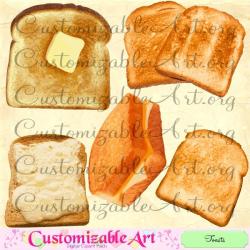 Toast Clipart Digital Toast Clip Art Butter Grill Cheese Sandwich ...
