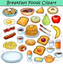 Breakfast Foods Clipart Bundle - Breakfast Clipart Graphics