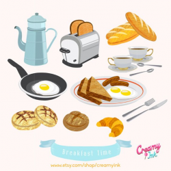 American Breakfast Brunch Food Digital Vector Clip Art /