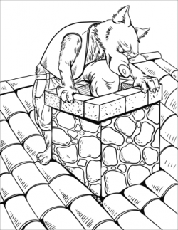 The Wolf Slides down the Chimney of the Brick House coloring page ...