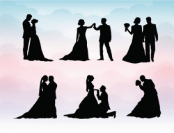 Couple Silhouette Clipart - Wedding silhouettes SVG ...