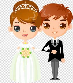 Wedded couple illustration, Wedding invitation Cartoon ...