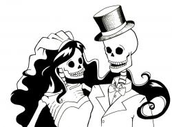 Skeleton Bride and Groom by Sareidia | Fine Art | Skull ...