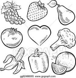 Vector Stock - Healthy fruit and vegetables sketch. Clipart ...