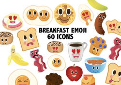 BREAKFAST EMOJI - kawaii food - food clipart, eggs clipart, brunch ...
