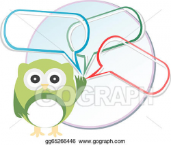 Drawing - Cute owl with abstract speech bubbles. Clipart Drawing ...