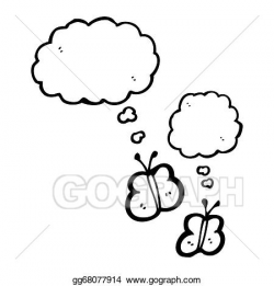 Drawing - Cartoon butterflies with thought bubbles. Clipart Drawing ...