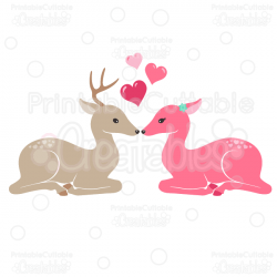 Deer in Love Clipart and SVG Cut Files