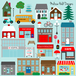 Town Buildings Clipart | Pos