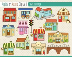 Town Buildings Clip Art - color and outlines | Outlines, Clip art ...